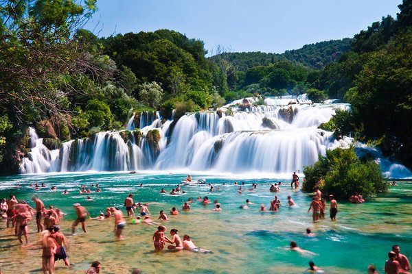 Skradinski Buk. Vodopád v chorvátskom národnom parku Krka.