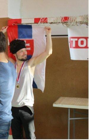 So slovenskou vlajkou po získaní titulu.