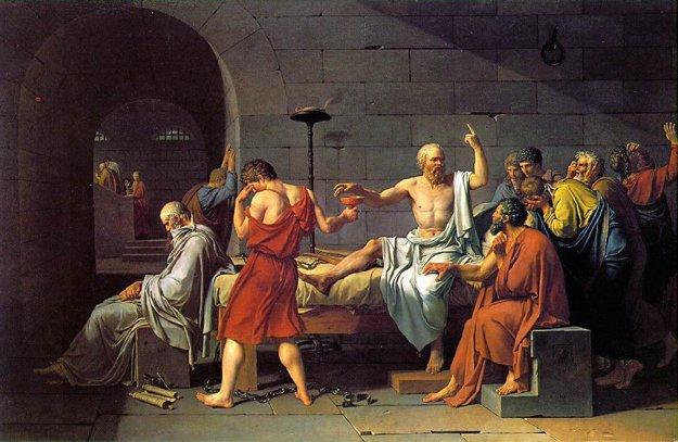 Smrť Sokrata na maľbe Jacques-Louisa Davida