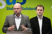 Predseda SaS Richard Sulík a predseda OĽaNO Igor Matovič.