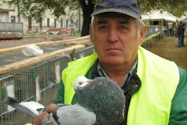 Karol Danihel z Kostolišťa ukazuje svojho oceneného holuba.