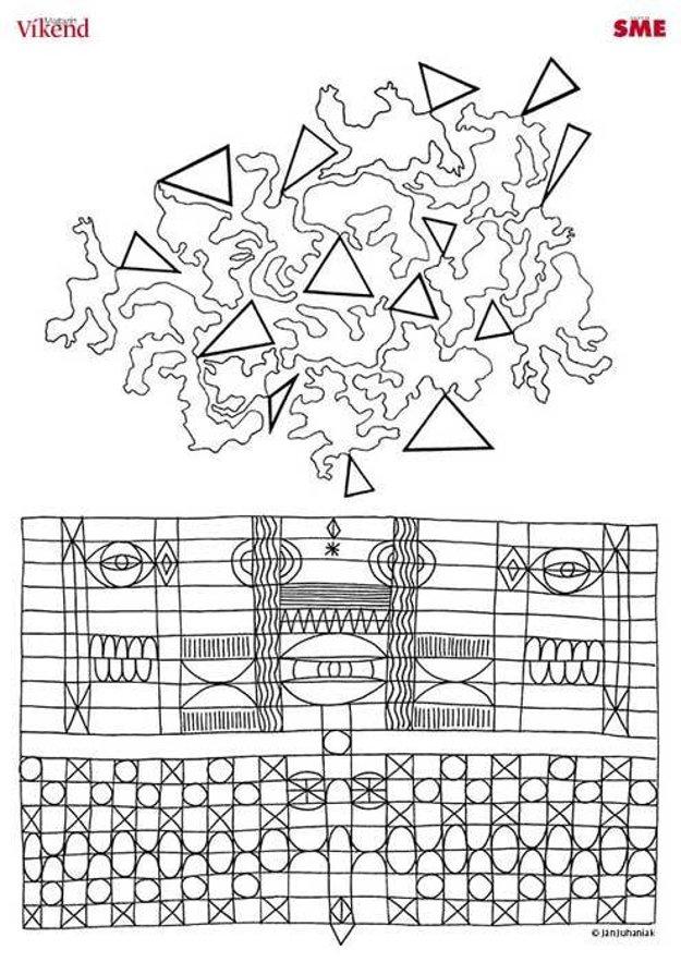Maľovanka. Ján Juhaniak má za sebou stáže vBruseli, vParíži iniekoľko výstav. V súčasnosti ho zamestnáva tvorba koláží a abstraktná tvorba, v ktorej zvedavo experimentuje s materiálmi či technikami.