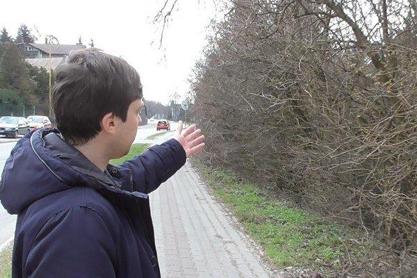 Cez zarastený plot nevidno. Spoza neho vychádzajú autá.
