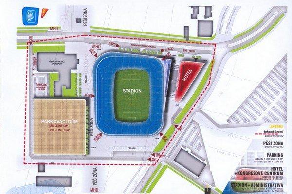 Umiestnenie štadióna MFK medzi Cassosportom, Blšákom, Nay a Merkury Marketom. S parkovacím domom ani hotelom sa však v prvej etape za 28 miliónov eur nepočítalo. Trvanie stavby odhadovali na 20 mesiacov.