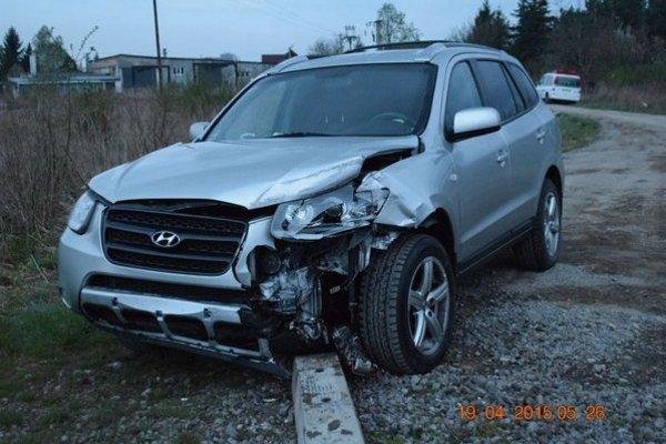 Havarovaný Hyundai.