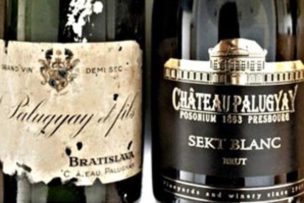 Porovnanie fliaš sektu z pivníc Chateau Palugyay. Vľavo historická fľaša zo začiatku 20. storočia a vpravo dnešná podoba sektu rovnakej značky z pivníc Villa Vino Rača.