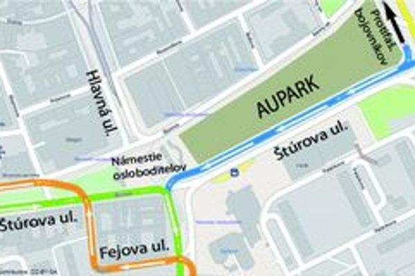 Vizualizácia. Takto by sa malo jazdiť v okolí Auparku po novom.