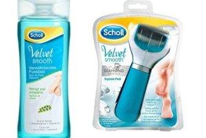 Kúpeľ na nohy, ktorý zjemní stvrdnutú a nepeknú kožu, Scholl Velvet Smooth, 6,87 €<br>Elektrický pilník Scholl Velvet Smooth, 36,17 €<br>