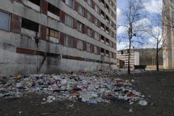 Ulica Podjavorinskej. Obyvatelia bloku nemajú problém len s odpadkami.
