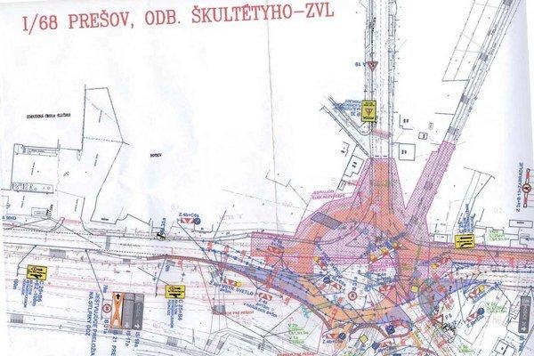 Vizualizácia staveniska. Cesta I/68 Prešov, odbočka Škultétyho - ZVL.