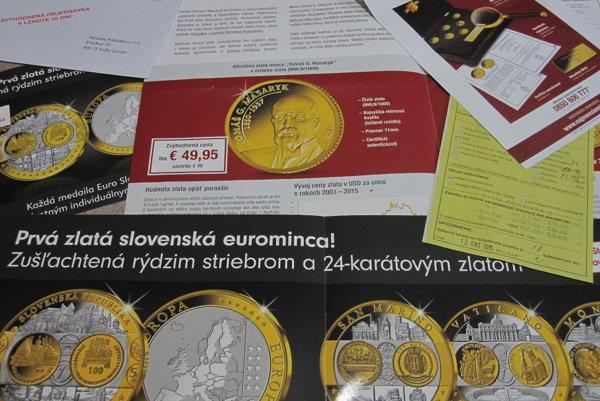 Národná pokladnica ponúka zlaté mince  prostredníctvom doporučených zásielok.