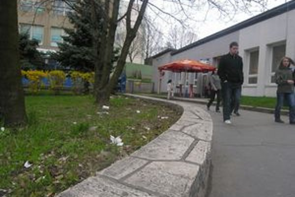 Park pri autobusovej stanici. Na tráve je kopa odpadkov, nechýbajú pohodené fľaše ani ohorky.