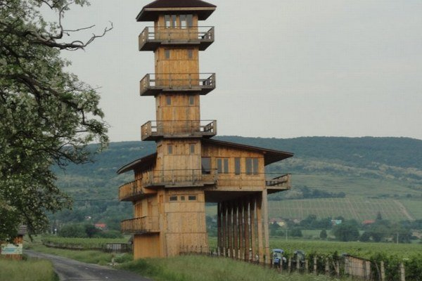 Pohľad na drevenú vežu, ktorá je už dnes v dezolátnom stave tým, že sa hrozivo nakláňa a je pravdepodobnou príčinou úplnej uzávierky cesty III. triedy od obce Malá Tŕňa po cestu I/79 smerujúcu do Maďarska.
