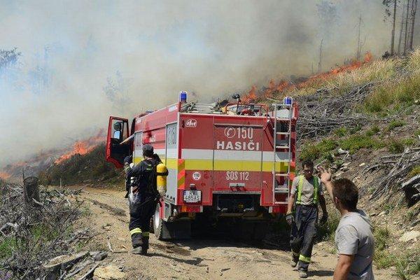 Boj hasičov v lesnom teréne pokračuje.