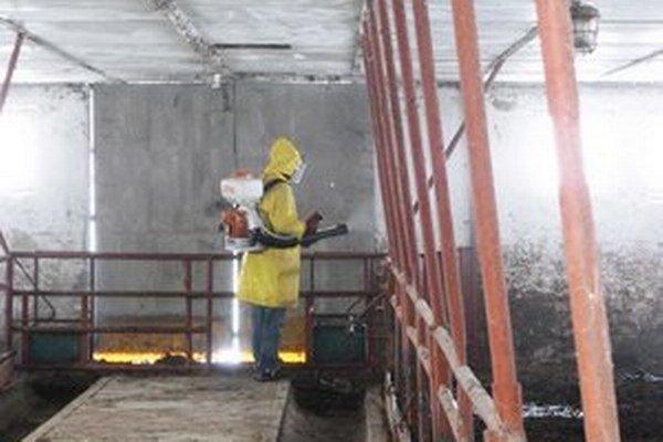 Dezinfekcia priestorov. Na ošetrenie stajní v Staškovciach bol použitý chemický prípravok na báze chlóru.