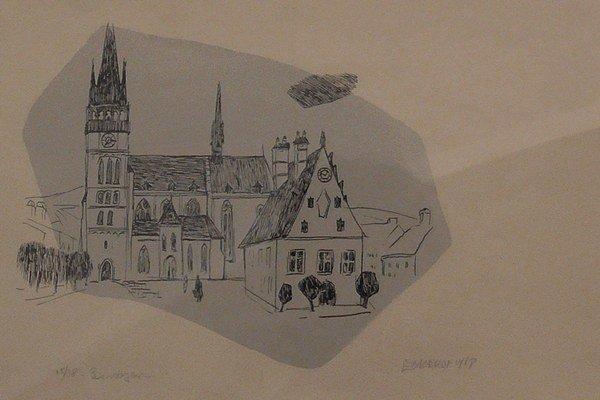 Litografia námestia v Bardejove. Pred 55 rokmi stvárnil A. Eckerdt bardejovské námestie na tejto grafike.