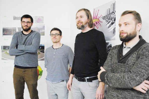 Architekti. Tomáš Boroš (zľava), Marek Dubiel, Michal Burák, Tomáš Eisner.