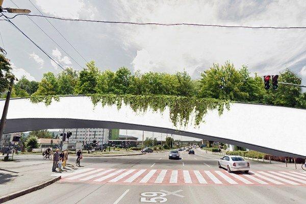 Zelený most. Spojí severnú ajužnú časť námestia.