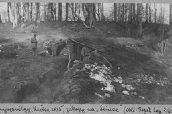 Máj 1915. Zákopy nad obcou Zboj.