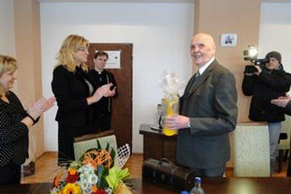 Jubilant Mikuláš Klimčák. Je prvým nositeľom ceny Anjel mesta Humenné.