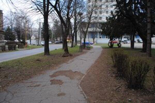 Park pri hoteli. Rozbité chodníky a lampy, staré stromy, chýbajúce lavičky.