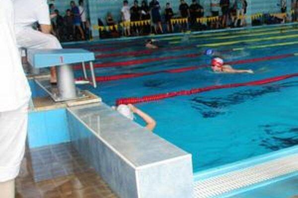 Daniela Gribaničová. Na tomto zábere je v druhej dráhe v červeno-bielej čiapke počas súťažných 100 metrov motýlika.