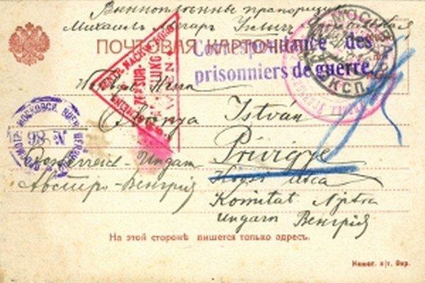 Korešpondenčný lístok z ruského zajateckého tábora z 23. marca 1916.