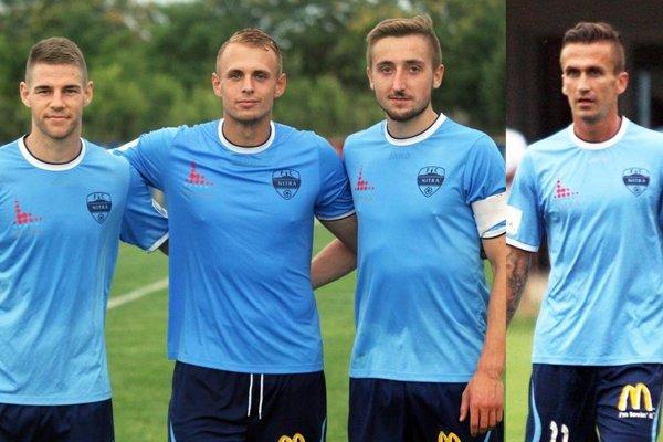 Letné posily FC Nitra - zľava Filip Žák, Ondřej Vencl, Jan Shejbal a Ján Chovanec.