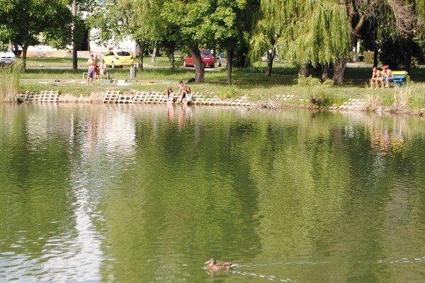 Letné kúpanie. Mnohým mladým Michalovčanom sa nechce na Šíravu a chladia sa v jazierku Baňa.