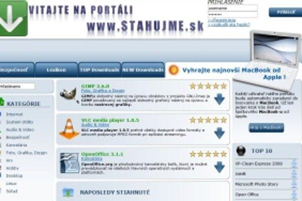 Stránka stahujme.sk ponúka za registráciu možnosť stiahnuť voľne šíriteľné programy. Používatelia však musia zaplatiť.