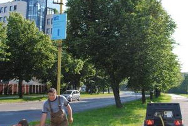 Masarykova ulica. Osvetľovacie stožiare sú po novom v stredovom pásme. Na okraji cesty im v minulosti tienili stromy.