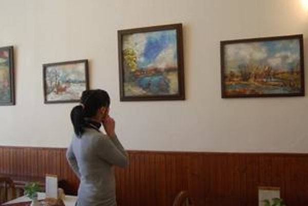 Obrazy. Autor sa venuje krajinkám a kvetinám.
