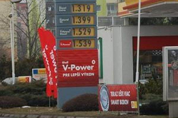 Ceny. Totemy informujú vodičov o cenách.