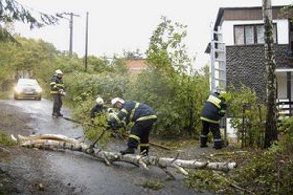 Hasiči mali včera pri popadaných stromoch plné ruky práce.