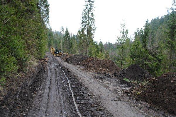 Prístupová cesta k chatovej oblasti. Množstvo zeminy spracovával bager.