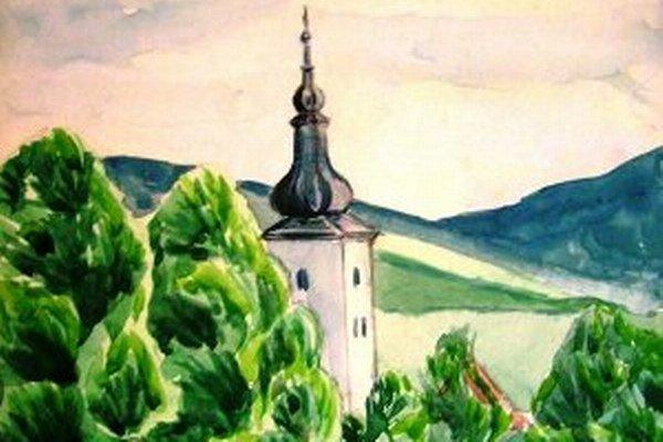 Takto Mariánsky kostol ako gymnazista namaľoval prievidzský umelec Imrich Vysočan.