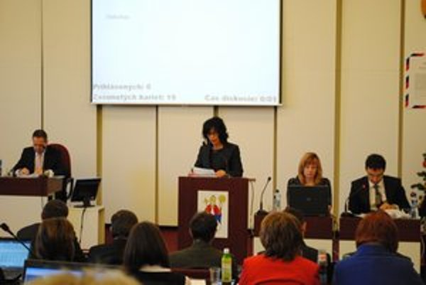 Jitka Púčiková. Vedúca ekonomického odboru predstavila poslancom rozpočet mesta na rok 2013.