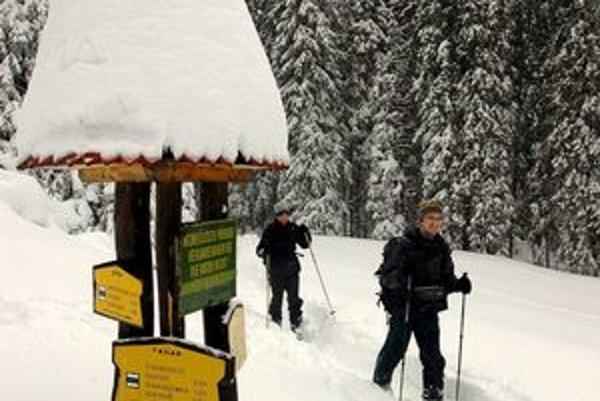 Turisti na poľane Kamzík pri ústí Veľkej Studenej doliny.