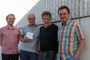 Zľava – Fero Király, Julo Krištof, Philip Glass a Ivan Šiller
