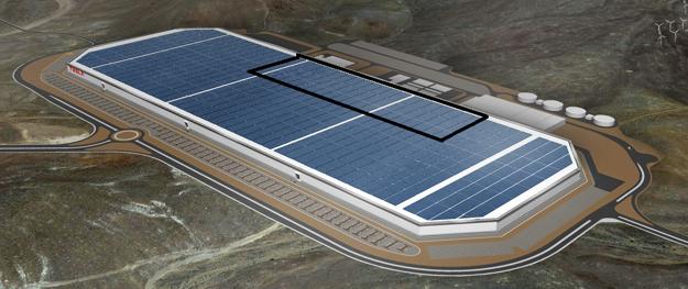 Z celej plánovanej továrne je zatiaľ postavená približne vyznačená časť. Strechu hotovej Gigafactory pokryjú solárne panely.