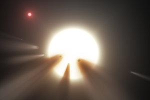 Systém KIC 8462852 na ilustrácii.