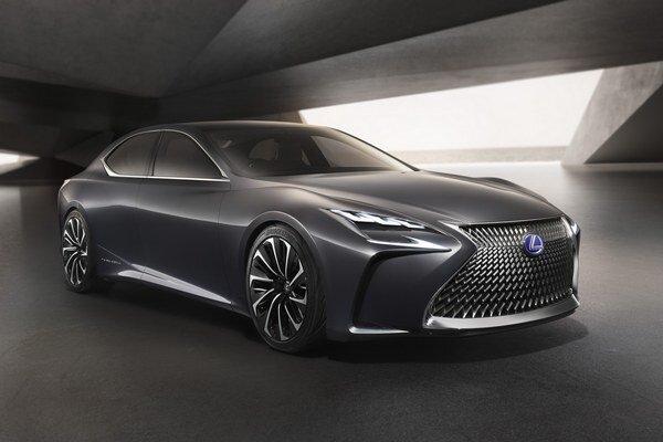 Koncepčný Lexus LF-FC. Štúdia LF-FC, vystavená na tokijskom autosalóne, predstavuje víziu budúcej luxusnej limuzíny s elektrickým pohonom na báze palivových článkov.