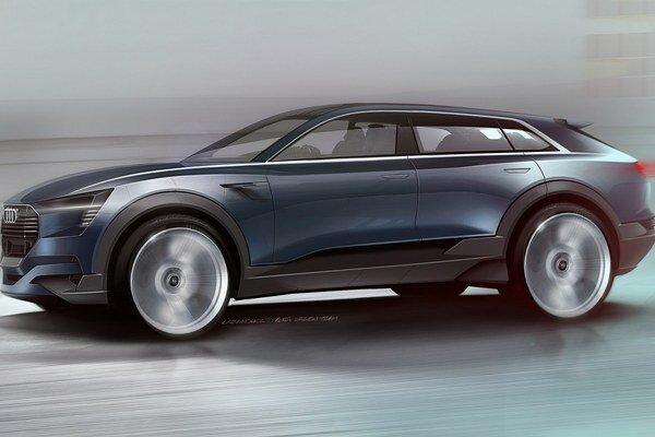 Štúdia Audi e-tron quattro concept. Z tejto štúdie bude odvodený sériový športovo-úžitkový model s elektrickým pohonom, ktorý na trh príde v roku 2018.