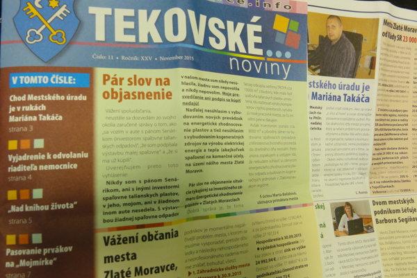 V poslednom čísle mestských novín si Balážová na predných stranách rezervovala poriadny priestor. Za dane občanov.