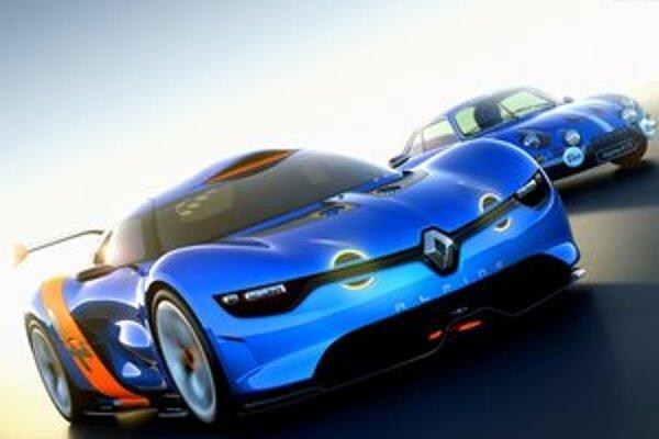 Koncepčný automobil A110-50. Toto vozidlo predstavila firma Renault pri príležitosti 50. výročia predstavenia vozidla Alpine A110 (v pozadí).