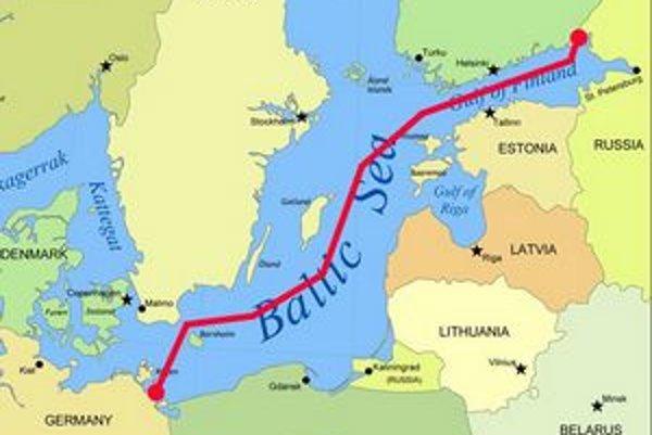 Trasa plynovodu Nord Stream. Tento plynovod je prvým priamym plynovodom z Ruska do západnej Európy.
