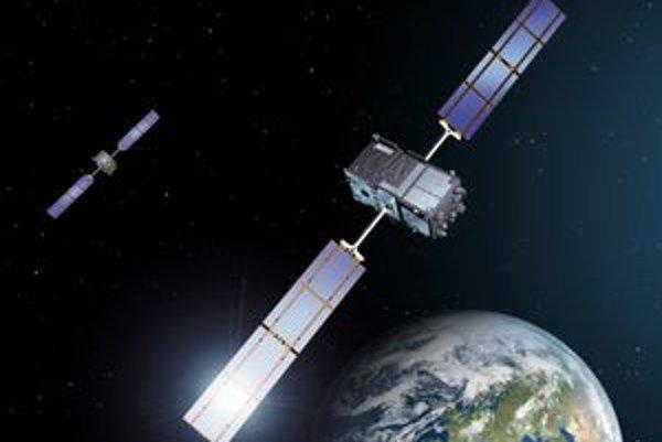 Kresba družíc Galileo. Európsky navigačný systém Galileo bude pozostávať z 20 družíc.
