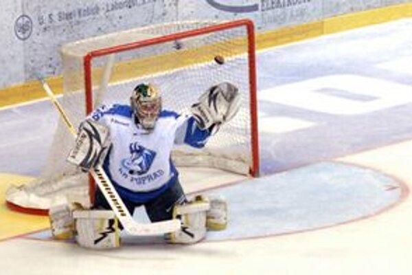Brankár Lipovský čakal na pokyn trénera, kedy má odísť z ľadu.