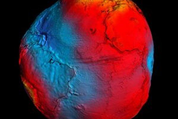 Nový tvar zemského geoidu. Údaje na vytvorenie nového geoidu sa získali z družice GOCE, vypustenej európskou agentúrou ESA.
