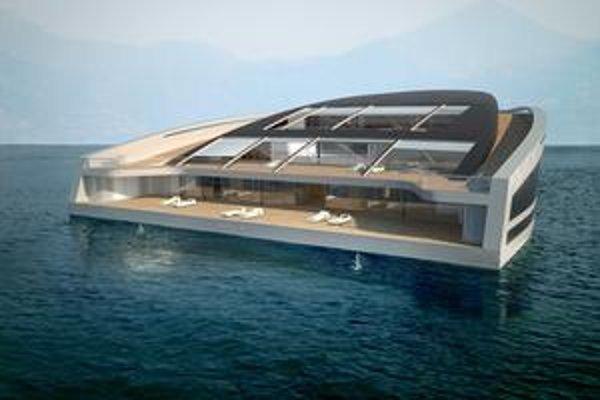 Jachta WHY. Jachta má netradičný, trojuholníkový pôdorys a jej zadná paluba slúži ako pláž.